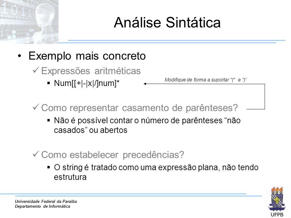 Universidade Federal da Paraíba Departamento de Informática Análise Sintática Exemplo mais concreto Expressões aritméticas Num[[+|-|x|/]num]* Como rep