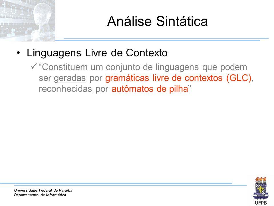 Universidade Federal da Paraíba Departamento de Informática Análise Sintática Linguagens Livre de Contexto Constituem um conjunto de linguagens que po