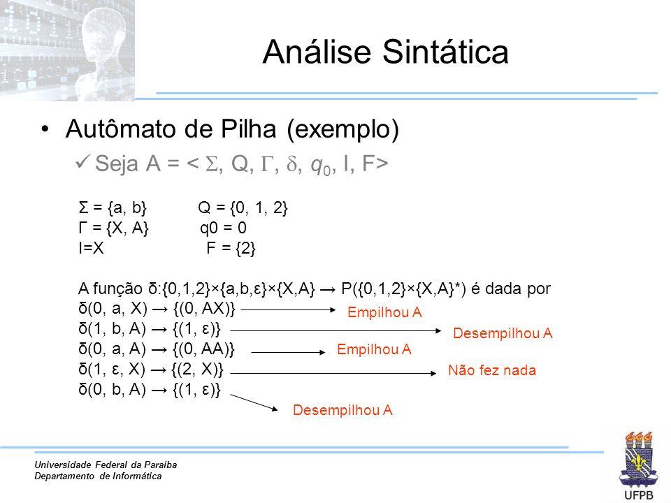 Universidade Federal da Paraíba Departamento de Informática Análise Sintática Autômato de Pilha (exemplo) Detalhes da notação: Símbolo ε no resultado da função indica um pop –δ(1, b, A) = {(1, ε)} Nas operações de push, sempre é representado o antigo topo da pilha no resultado –δ(0, a, X) = {(0, AX)} Operações de push podem empilhar mais do que um elemento –δ(0, a, X) = {(0, XXAX)} X A X A X A X Antigo topo da pilha XX A X X