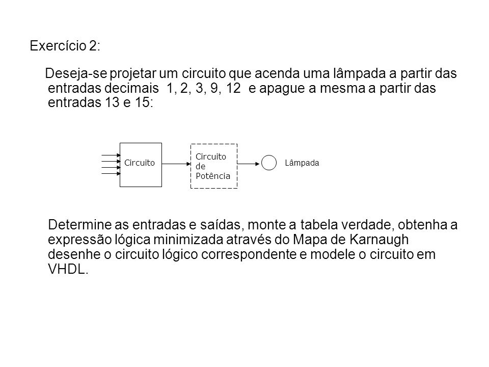 Exercício 2: Deseja-se projetar um circuito que acenda uma lâmpada a partir das entradas decimais 1, 2, 3, 9, 12 e apague a mesma a partir das entrada