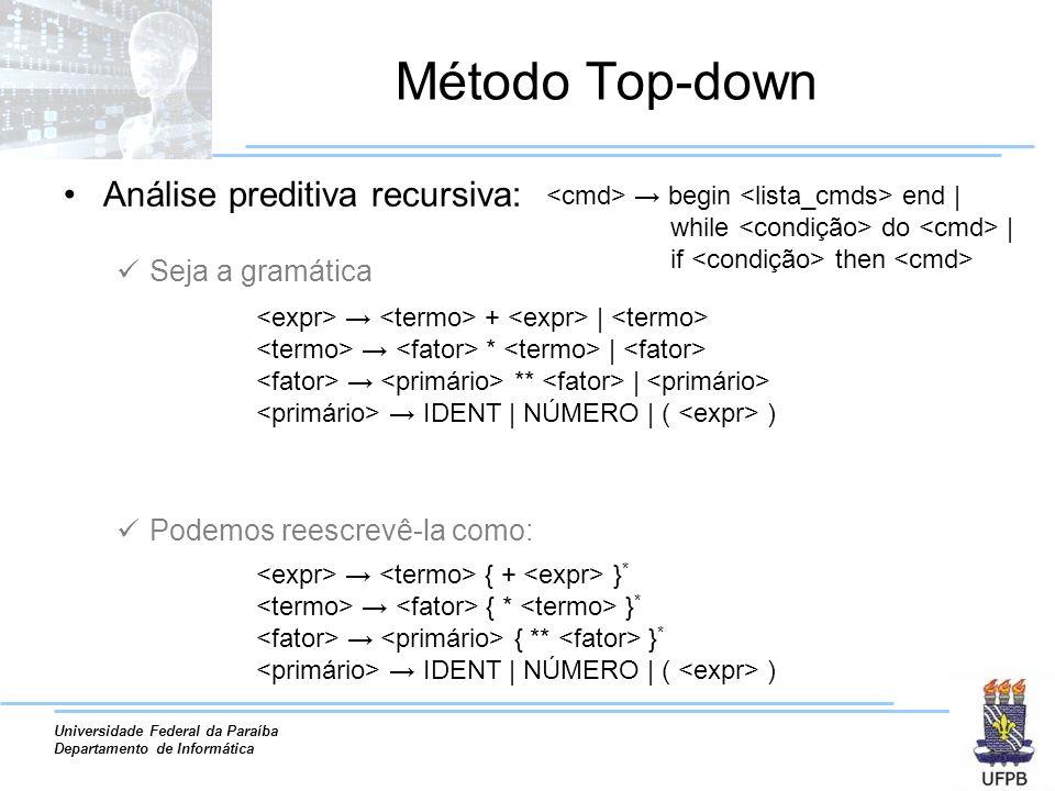 Universidade Federal da Paraíba Departamento de Informática Método Top-down Análise preditiva recursiva: Seja a gramática Podemos reescrevê-la como: b