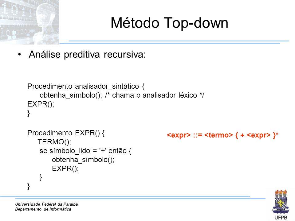 Universidade Federal da Paraíba Departamento de Informática Método Top-down Análise preditiva recursiva: Procedimento analisador_sintático { obtenha_s