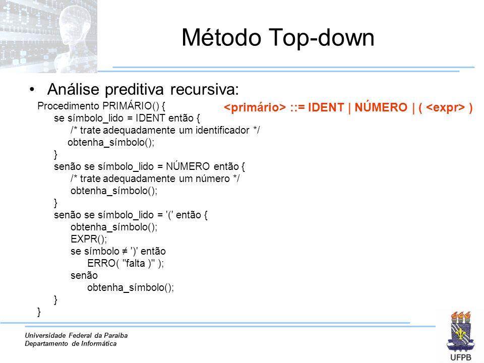 Universidade Federal da Paraíba Departamento de Informática Método Top-down Análise preditiva recursiva: Procedimento PRIMÁRIO() { se símbolo_lido = I
