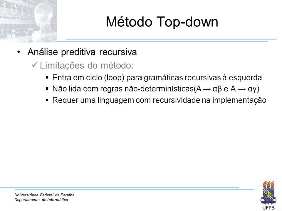 Universidade Federal da Paraíba Departamento de Informática Método Top-down Análise preditiva recursiva Limitações do método: Entra em ciclo (loop) pa