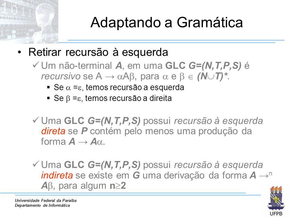 Universidade Federal da Paraíba Departamento de Informática Adaptando a Gramática Retirar recursão à esquerda Um não-terminal A, em uma GLC G=(N,T,P,S