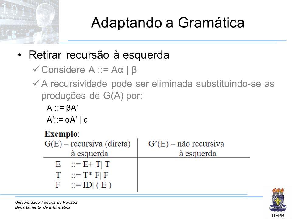 Universidade Federal da Paraíba Departamento de Informática Adaptando a Gramática Retirar recursão à esquerda Considere A ::= Aα | β A recursividade p