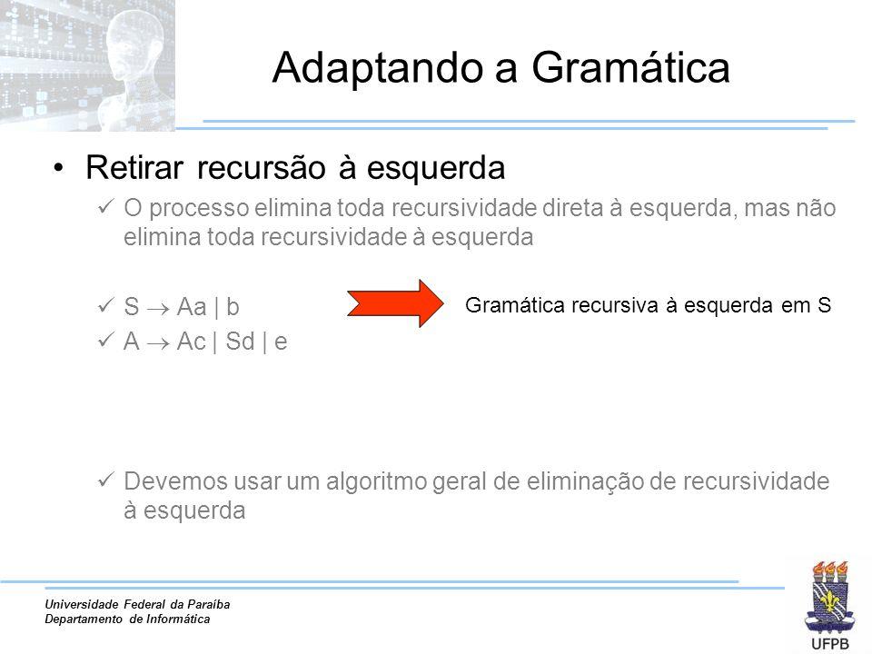 Universidade Federal da Paraíba Departamento de Informática Adaptando a Gramática Retirar recursão à esquerda O processo elimina toda recursividade di