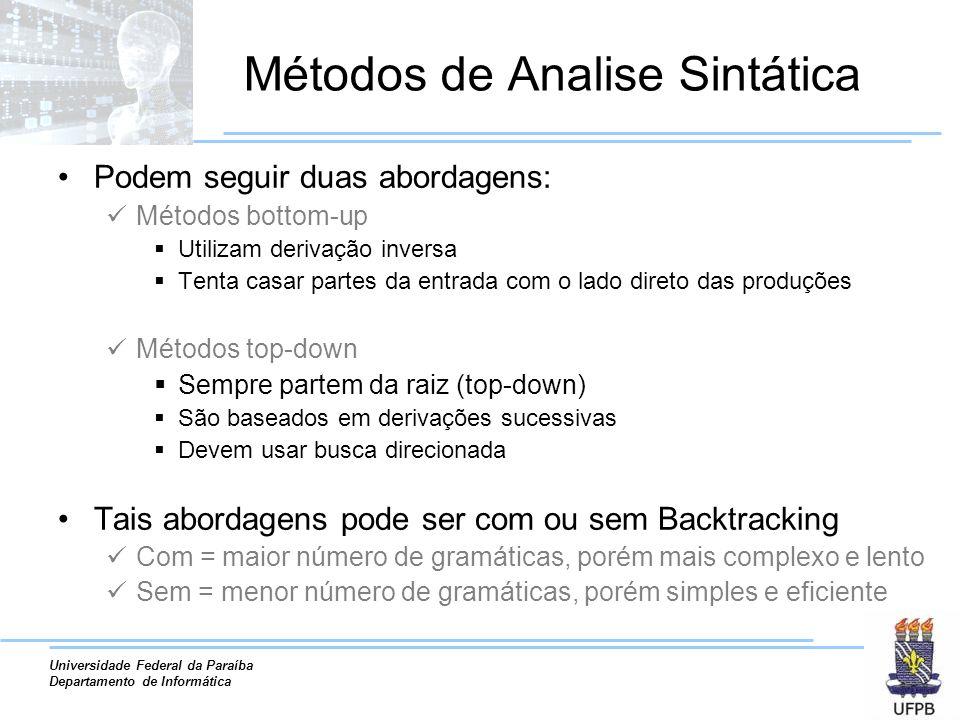 Universidade Federal da Paraíba Departamento de Informática Métodos de Analise Sintática Podem seguir duas abordagens: Métodos bottom-up Utilizam deri
