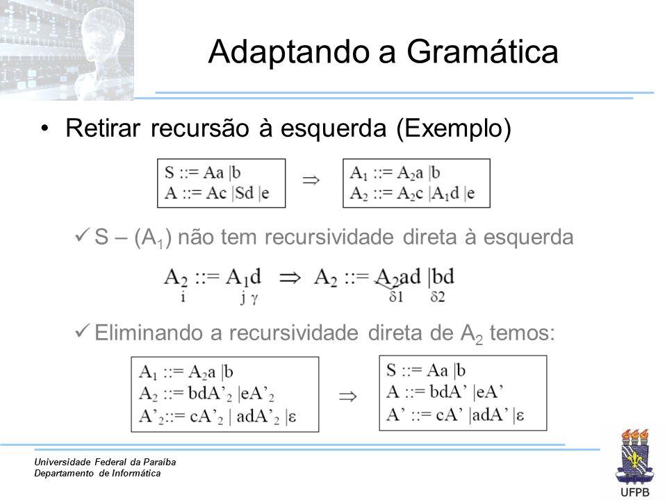 Universidade Federal da Paraíba Departamento de Informática Adaptando a Gramática Retirar recursão à esquerda (Exemplo) S – (A 1 ) não tem recursivida