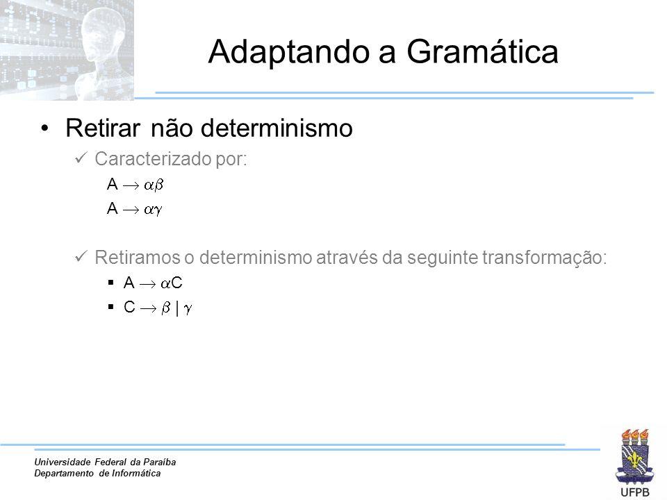 Universidade Federal da Paraíba Departamento de Informática Adaptando a Gramática Retirar não determinismo Caracterizado por: A Retiramos o determinis