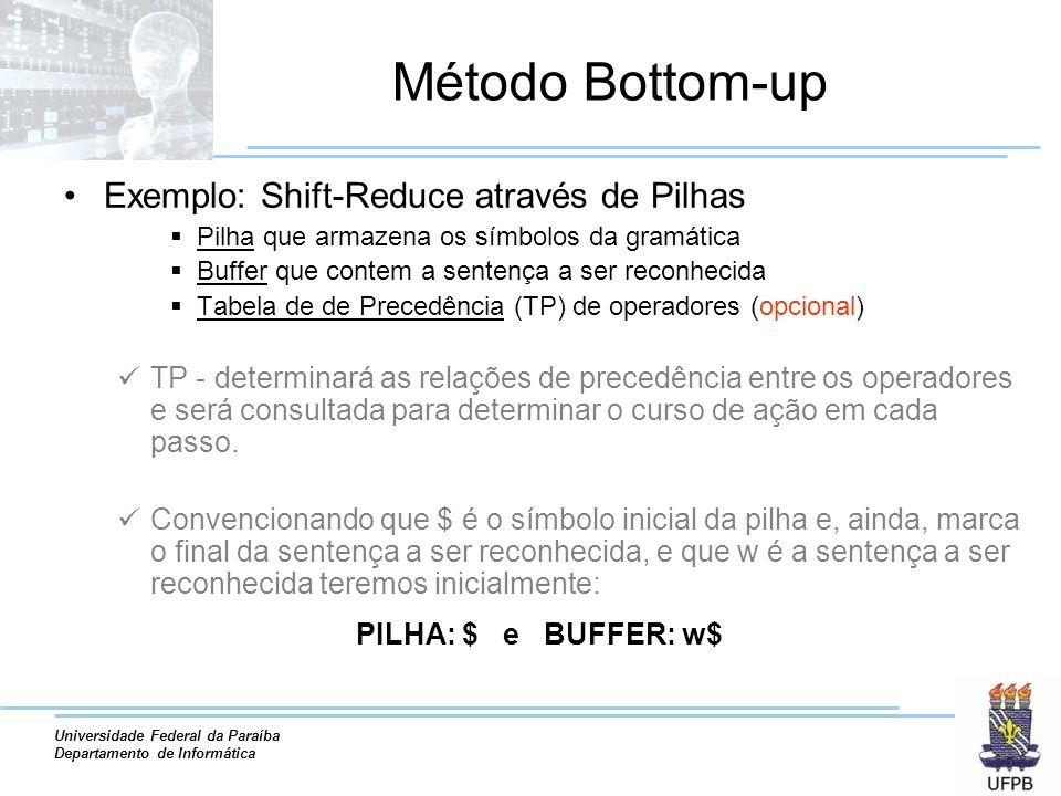 Universidade Federal da Paraíba Departamento de Informática Método Bottom-up Exemplo: Shift-Reduce através de Pilhas Pilha que armazena os símbolos da