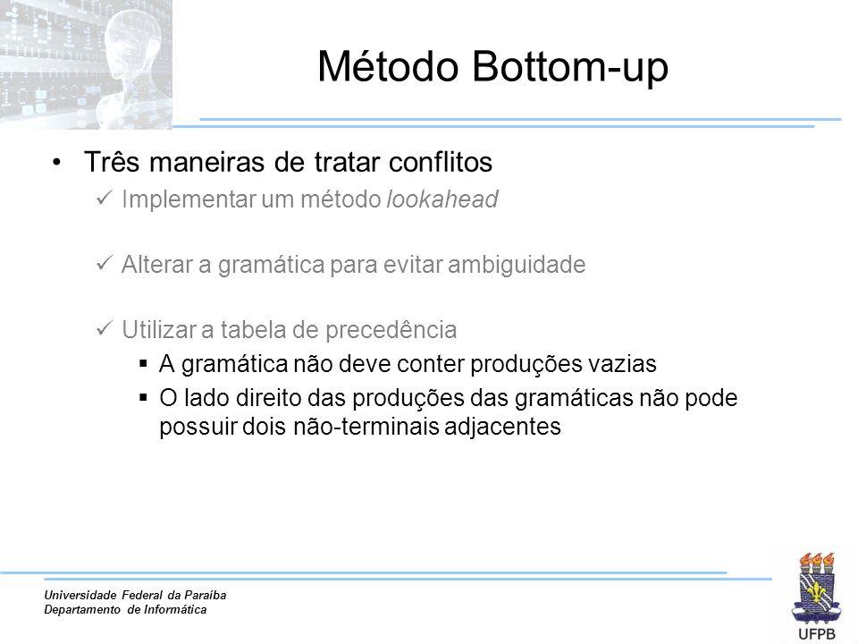 Universidade Federal da Paraíba Departamento de Informática Método Bottom-up Três maneiras de tratar conflitos Implementar um método lookahead Alterar