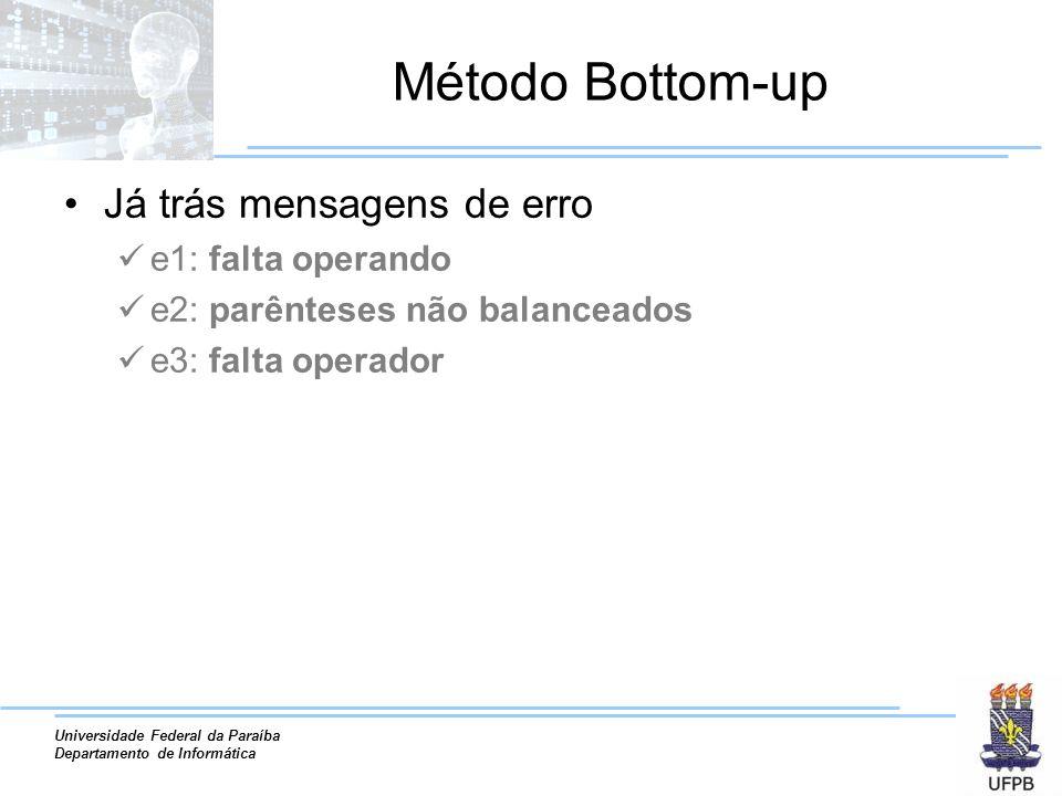 Universidade Federal da Paraíba Departamento de Informática Método Bottom-up Já trás mensagens de erro e1: falta operando e2: parênteses não balancead