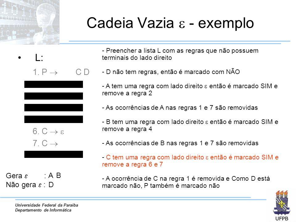Universidade Federal da Paraíba Departamento de Informática Cadeia Vazia - exemplo L: 1. P A B C D 2. A 3. A a A 4. B 5. B B b 6. C 7. C A B 8. D d -