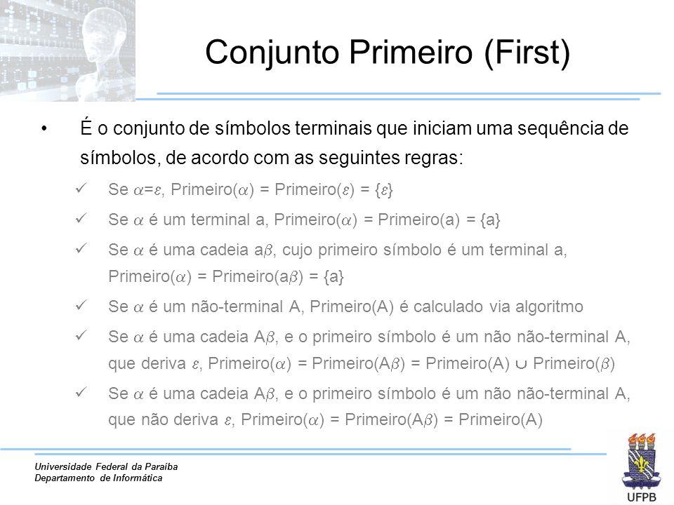Universidade Federal da Paraíba Departamento de Informática Conjunto Primeiro (First) É o conjunto de símbolos terminais que iniciam uma sequência de símbolos, de acordo com as seguintes regras: Se =, Primeiro( ) = Primeiro( ) = { } Se é um terminal a, Primeiro( ) = Primeiro(a) = {a} Se é uma cadeia a, cujo primeiro símbolo é um terminal a, Primeiro( ) = Primeiro(a ) = {a} Se é um não-terminal A, Primeiro(A) é calculado via algoritmo Se é uma cadeia A, e o primeiro símbolo é um não não-terminal A, que deriva, Primeiro( ) = Primeiro(A ) = Primeiro(A) Primeiro( ) Se é uma cadeia A, e o primeiro símbolo é um não não-terminal A, que não deriva, Primeiro( ) = Primeiro(A ) = Primeiro(A)