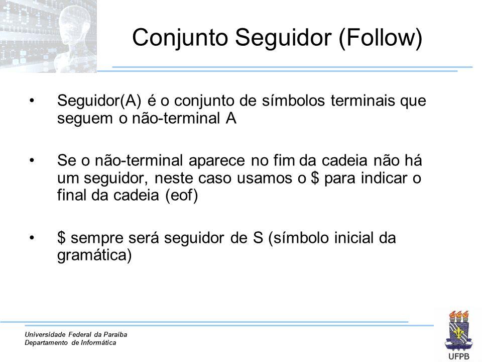 Universidade Federal da Paraíba Departamento de Informática Conjunto Seguidor (Follow) Seguidor(A) é o conjunto de símbolos terminais que seguem o não