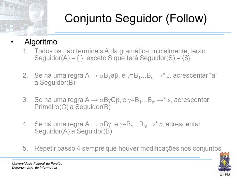 Universidade Federal da Paraíba Departamento de Informática Conjunto Seguidor (Follow) Algoritmo 1.Todos os não terminais A da gramática, inicialmente, terão Seguidor(A) = { }, exceto S que terá Seguidor(S) = {$} 2.Se há uma regra A B a, e =B 1...B m *, acrescentar a a Seguidor(B) 3.Se há uma regra A B C, e =B 1...B m *, acrescentar Primeiro(C) a Seguidor(B) 4.Se há uma regra A B, e =B 1...B m *, acrescentar Seguidor(A) a Seguidor(B) 5.Repetir passo 4 sempre que houver modificações nos conjuntos