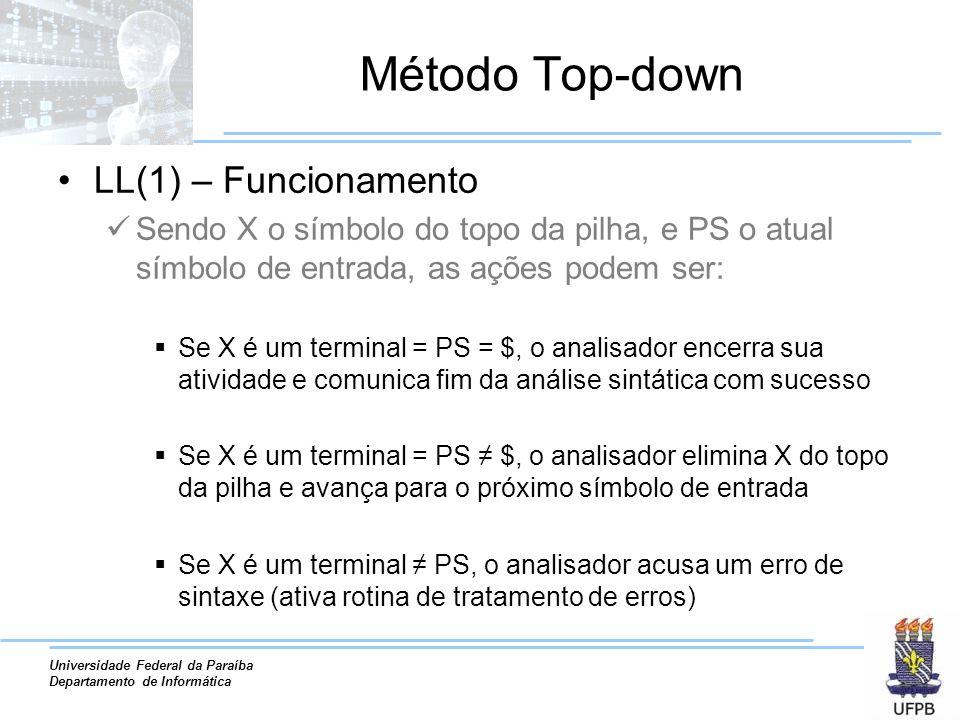 Universidade Federal da Paraíba Departamento de Informática Método Top-down LL(1) – Funcionamento Sendo X o símbolo do topo da pilha, e PS o atual sím