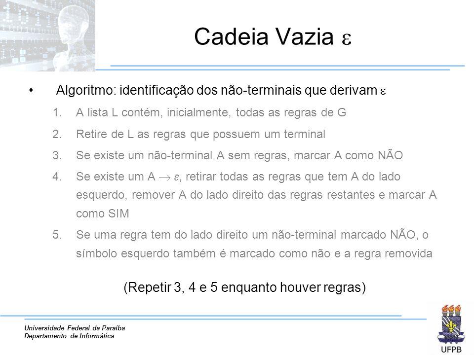 Universidade Federal da Paraíba Departamento de Informática Cadeia Vazia Algoritmo: identificação dos não-terminais que derivam 1.A lista L contém, in