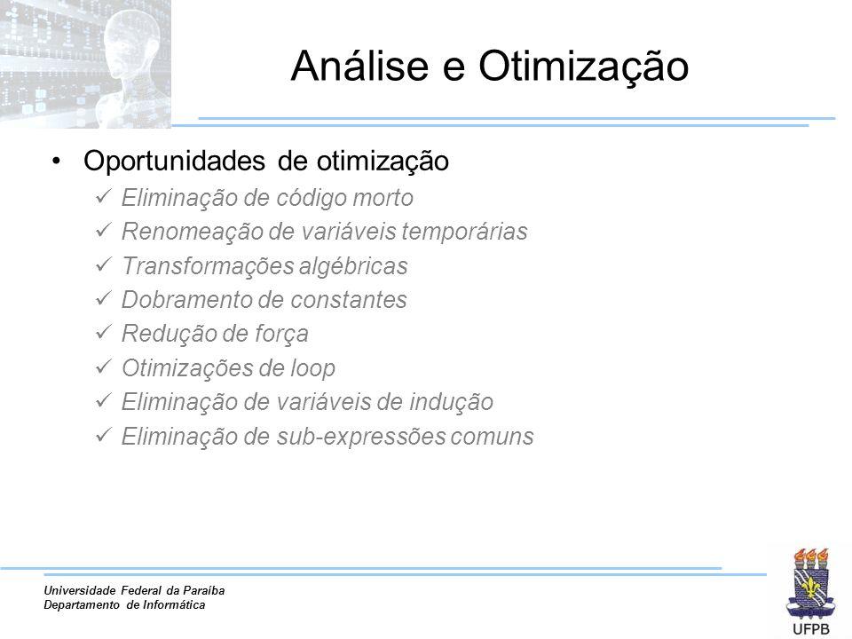 Universidade Federal da Paraíba Departamento de Informática Análise e Otimização Oportunidades de otimização Eliminação de código morto Renomeação de