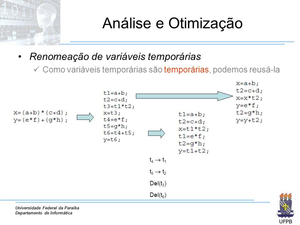 Universidade Federal da Paraíba Departamento de Informática Análise e Otimização Renomeação de variáveis temporárias Como variáveis temporárias são temporárias, podemos reusá-la t 4 t 1 t 5 t 2 Del(t 3 ) Del(t 6 )