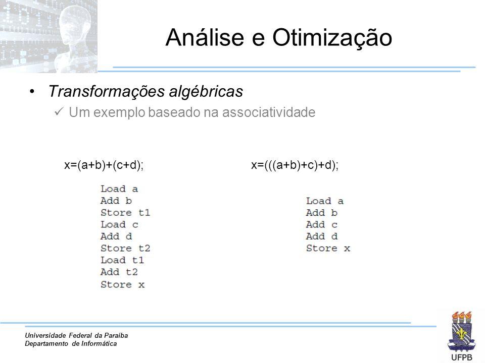Universidade Federal da Paraíba Departamento de Informática Análise e Otimização Transformações algébricas Um exemplo baseado na associatividade x=(a+b)+(c+d);x=(((a+b)+c)+d);