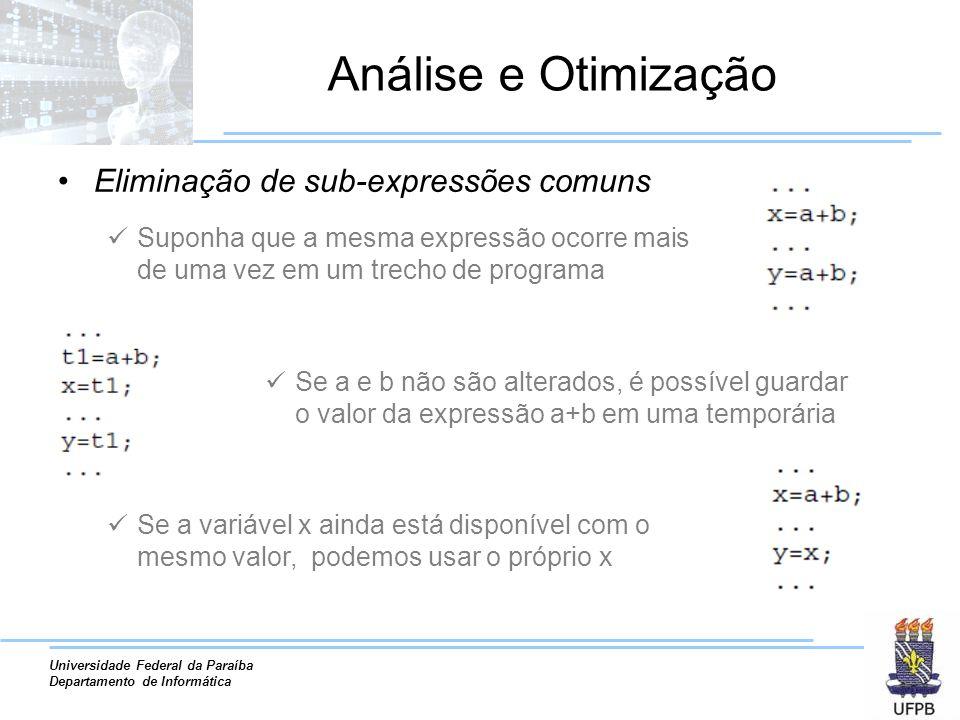 Universidade Federal da Paraíba Departamento de Informática Análise e Otimização Eliminação de sub-expressões comuns Suponha que a mesma expressão oco