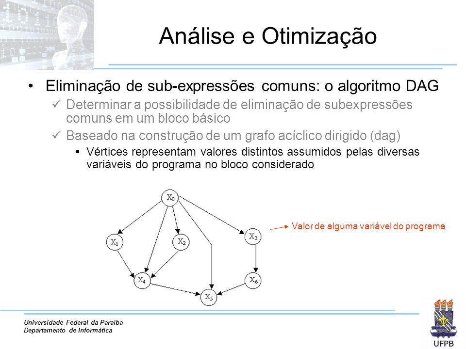 Universidade Federal da Paraíba Departamento de Informática Análise e Otimização Eliminação de sub-expressões comuns: o algoritmo DAG Determinar a pos