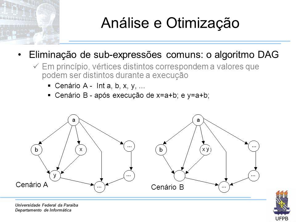 Universidade Federal da Paraíba Departamento de Informática Análise e Otimização Eliminação de sub-expressões comuns: o algoritmo DAG Em princípio, vé