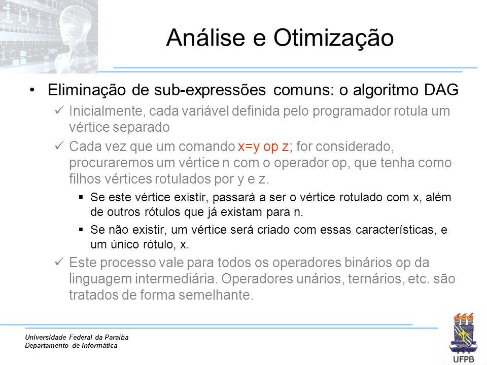 Universidade Federal da Paraíba Departamento de Informática Análise e Otimização Eliminação de sub-expressões comuns: o algoritmo DAG Inicialmente, ca