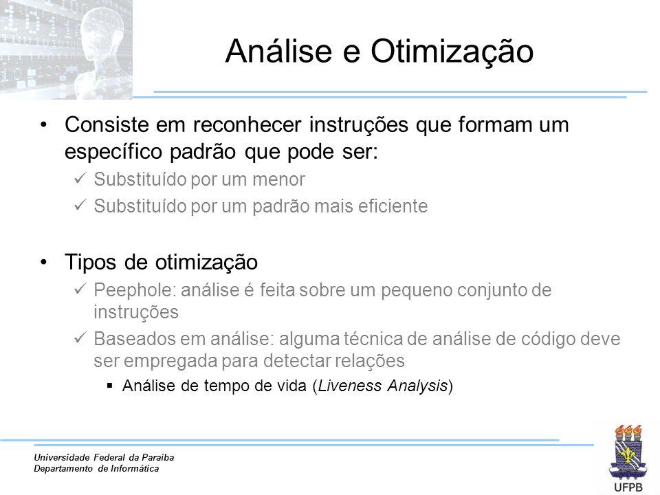Universidade Federal da Paraíba Departamento de Informática Análise e Otimização Consiste em reconhecer instruções que formam um específico padrão que