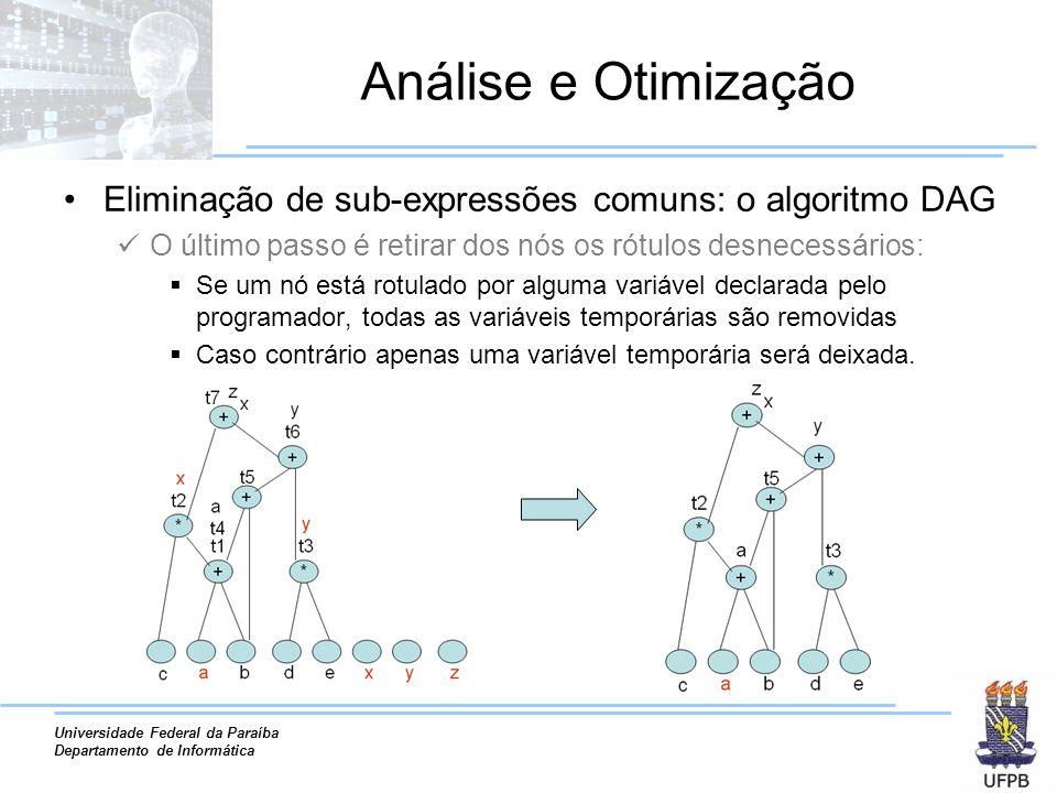 Universidade Federal da Paraíba Departamento de Informática Análise e Otimização Eliminação de sub-expressões comuns: o algoritmo DAG O último passo é