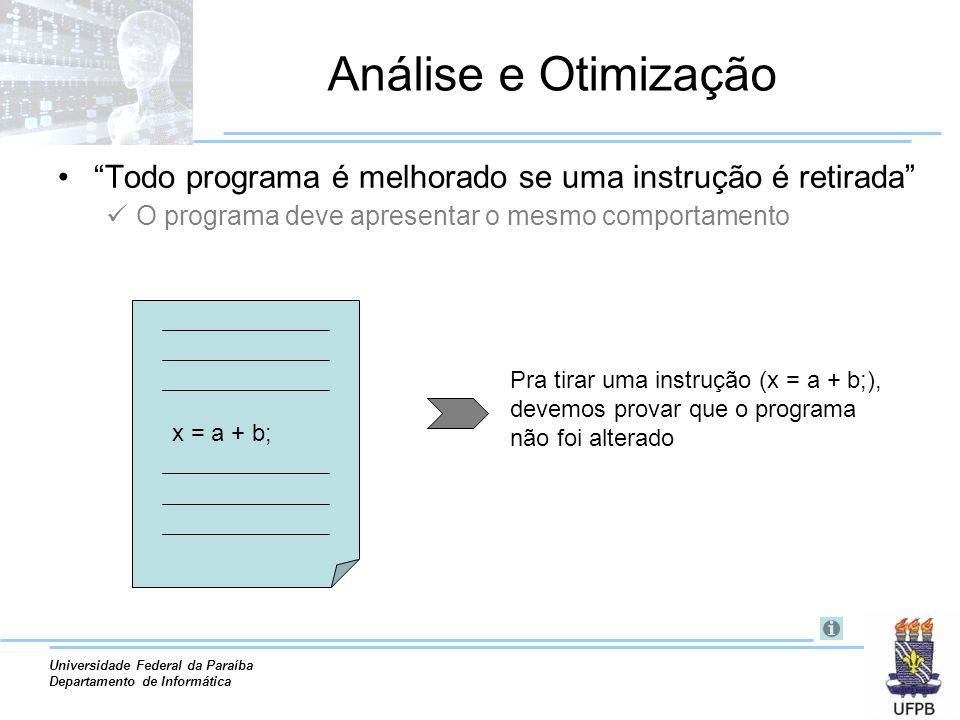 Universidade Federal da Paraíba Departamento de Informática Análise e Otimização Todo programa é melhorado se uma instrução é retirada O programa deve apresentar o mesmo comportamento x = a + b; Pra tirar uma instrução (x = a + b;), devemos provar que o programa não foi alterado