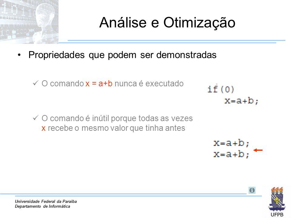 Universidade Federal da Paraíba Departamento de Informática Análise e Otimização Propriedades que podem ser demonstradas O comando x = a+b nunca é exe