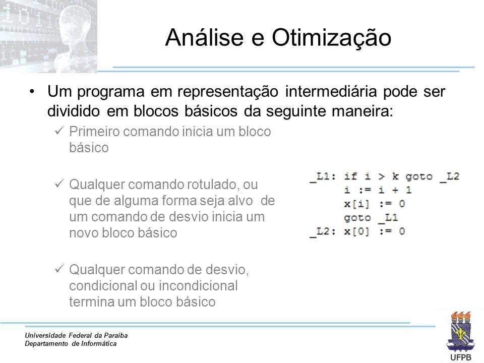 Universidade Federal da Paraíba Departamento de Informática Análise e Otimização Um programa em representação intermediária pode ser dividido em bloco