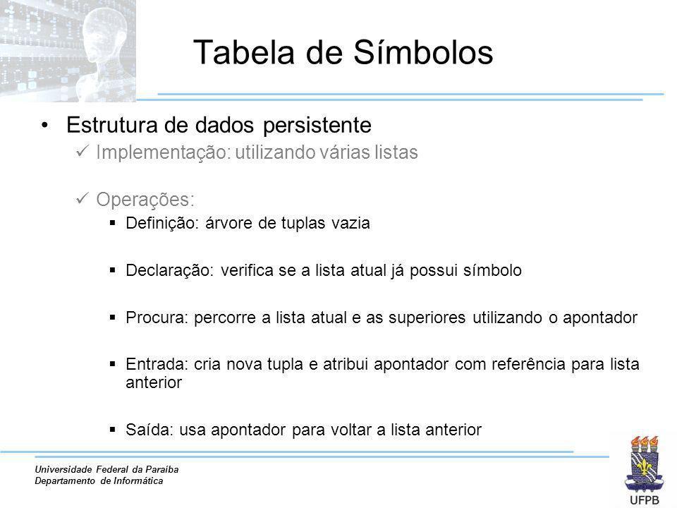 Universidade Federal da Paraíba Departamento de Informática Estrutura de dados persistente Implementação: utilizando várias listas Operações: Definiçã