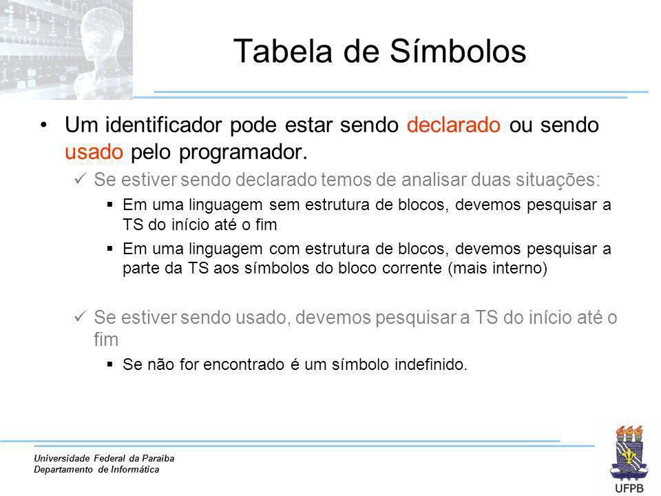 Universidade Federal da Paraíba Departamento de Informática Tabela de Símbolos Um identificador pode estar sendo declarado ou sendo usado pelo program