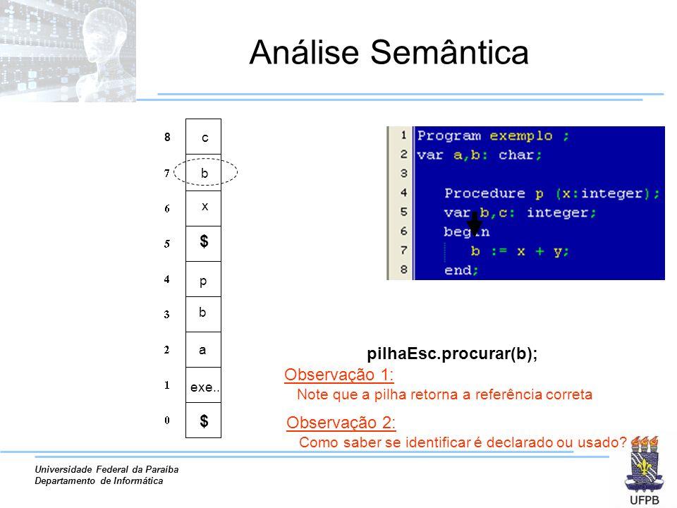 Universidade Federal da Paraíba Departamento de Informática Análise Semântica a exe.. b pilhaEsc.procurar(b); p x b 8 c Observação 2: Como saber se id