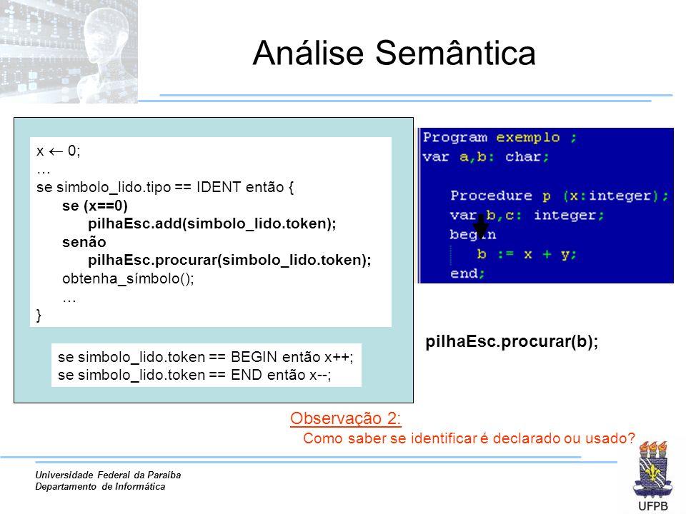 Universidade Federal da Paraíba Departamento de Informática Análise Semântica pilhaEsc.procurar(b); Observação 2: Como saber se identificar é declarad
