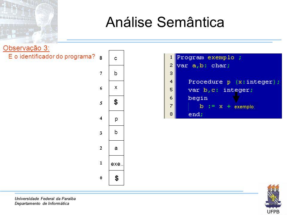 Universidade Federal da Paraíba Departamento de Informática Análise Semântica a exe.. b p x b 8 c exemplo; $ $ Observação 3: E o identificador do prog