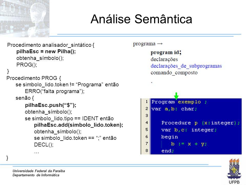 Universidade Federal da Paraíba Departamento de Informática Análise Semântica Procedimento analisador_sintático { pilhaEsc = new Pilha(); obtenha_símb