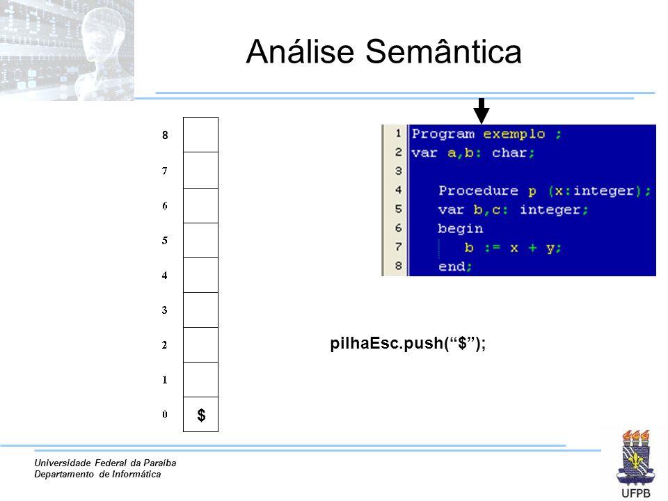 Universidade Federal da Paraíba Departamento de Informática Análise Semântica pilhaEsc.push(exemplo); exe..