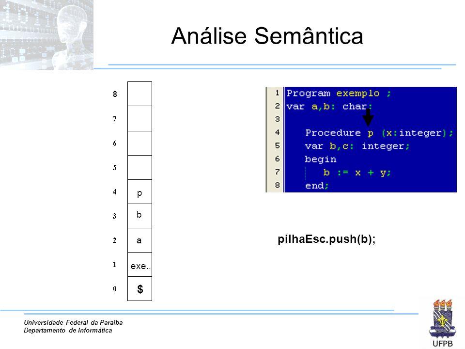 Universidade Federal da Paraíba Departamento de Informática Análise Semântica a exe.. b pilhaEsc.push(b); p 8 $