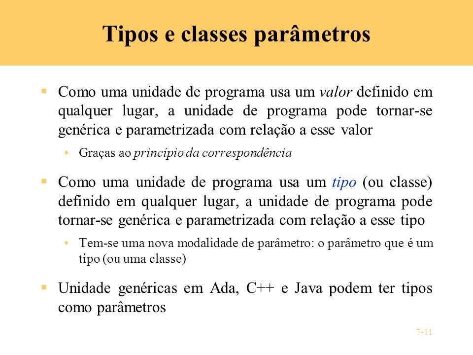 7-11 Tipos e classes parâmetros Como uma unidade de programa usa um valor definido em qualquer lugar, a unidade de programa pode tornar-se genérica e
