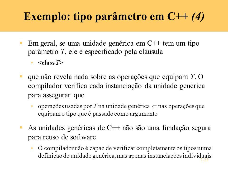 7-23 Exemplo: tipo parâmetro em C++ (4) Em geral, se uma unidade genérica em C++ tem um tipo parâmetro T, ele é especificado pela cláusula que não rev