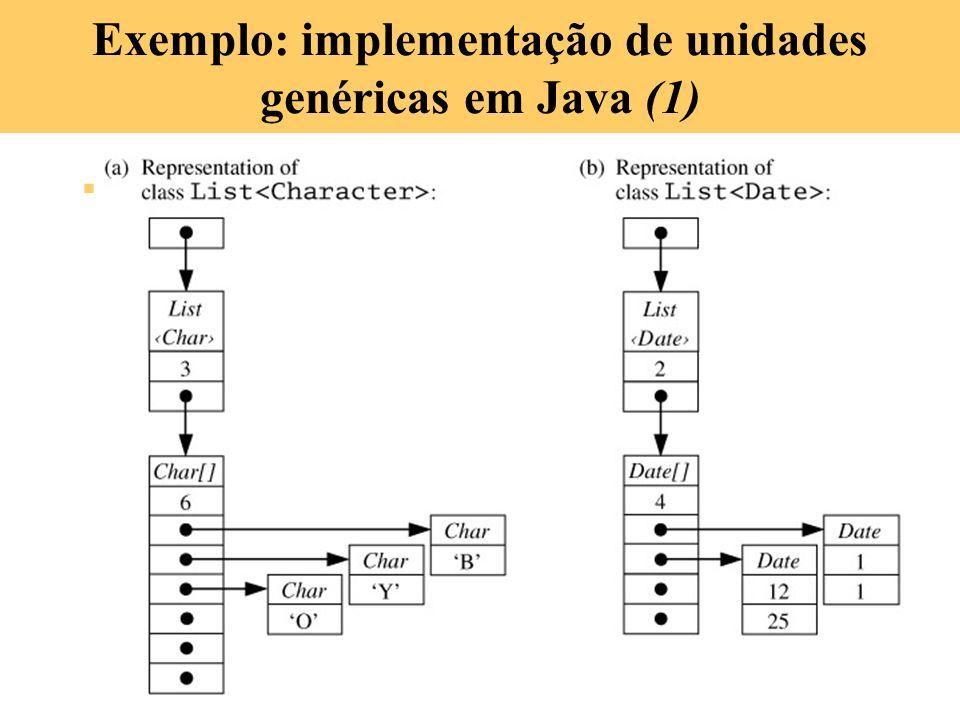 7-33 Exemplo: implementação de unidades genéricas em Java (1) A implementação de classes genéricas em Java é simplificada porque elas só podem ser par