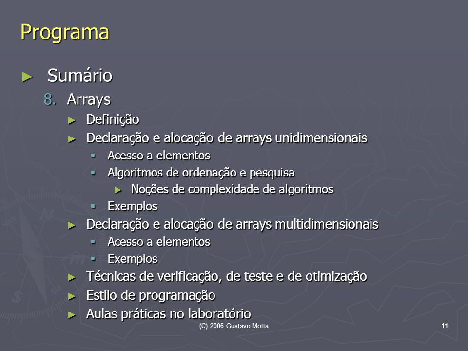 (C) 2006 Gustavo Motta11 Programa Sumário Sumário 8.Arrays Definição Definição Declaração e alocação de arrays unidimensionais Declaração e alocação d