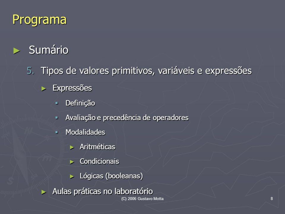 (C) 2006 Gustavo Motta8 Programa Sumário Sumário 5.Tipos de valores primitivos, variáveis e expressões Expressões Expressões Definição Definição Avali