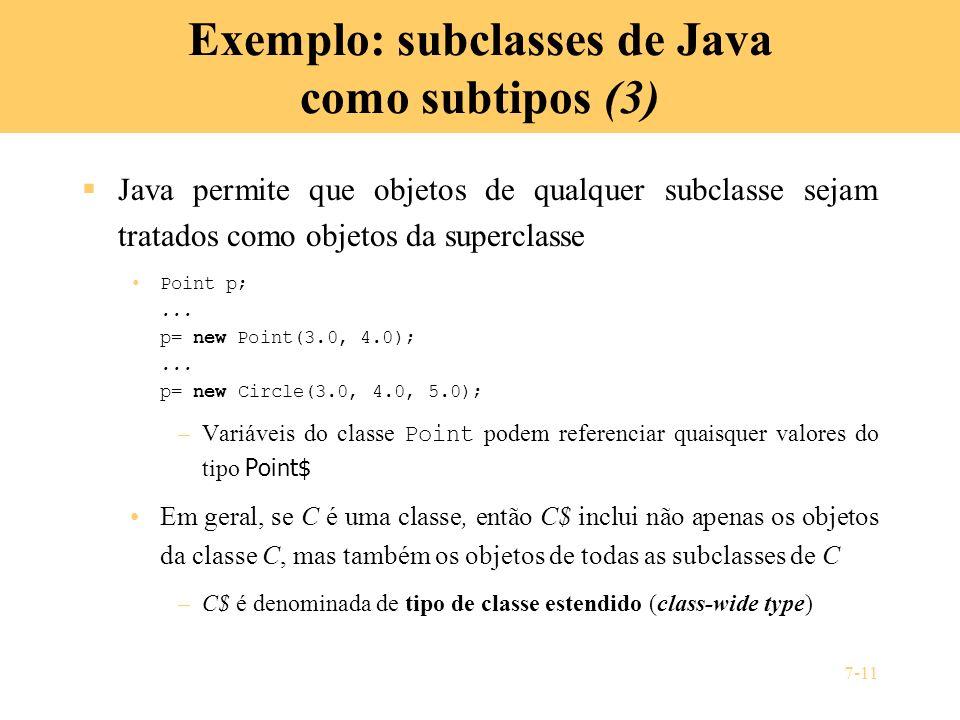 7-11 Exemplo: subclasses de Java como subtipos (3) Java permite que objetos de qualquer subclasse sejam tratados como objetos da superclasse Point p;.