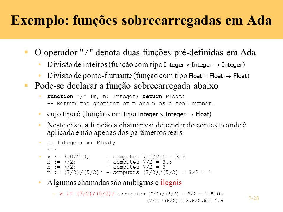 7-28 Exemplo: funções sobrecarregadas em Ada O operador
